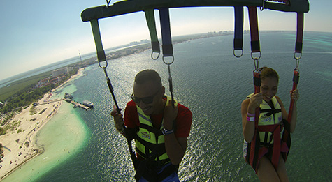 Parasail flight over the Bay of Cancun